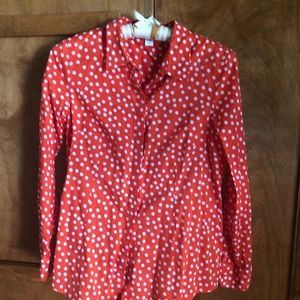 COLDWATER CREEEK Red polka dot blouse.